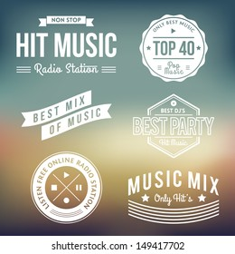 Vector Collection of Vintage Music Labels