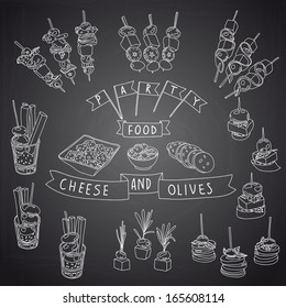Vector collection of vintage party canapes and dips. Hand drawn vintage Illustration with canapes, dips and finger-food. Party set. Cheese and olive. Chalkboard design.