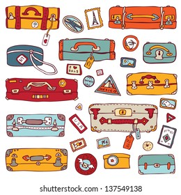 Vector Collection of vintage suitcases. Travel Illustration isolated.