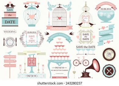 Vector collection of vintage wedding frames  and icons. Set of holiday decoration elements.