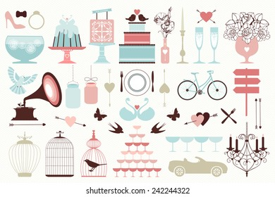 Vector collection of vintage wedding objects and icons. Set of holiday decoration elements.
