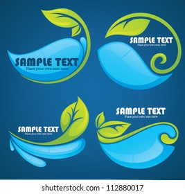 vector collection of water and leaves stickers and symbols on dark blue background