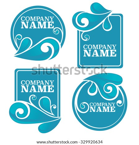 Vector Collection Water Stickers Symbols Your Stock Vector Royalty