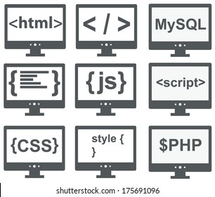 vector collection of web development icons: html, css, tag, mysql, curves, php, script, style, javascript - isolated on white background