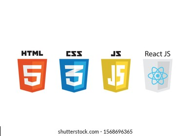 vector collection of web development shield signs: html5, css3, javascript and react.
