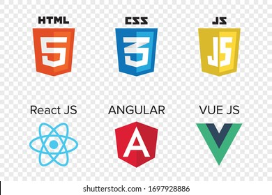 vector collection of web development shield signs: html5, css3, javascript, react js, angular and vue js.