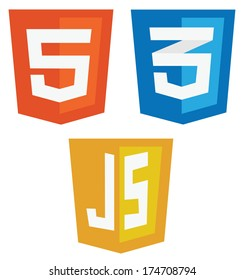 vector collection of web development shield signs: html5, css3 and javascript. isolated icons on white background