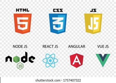 vector collection of web development shield signs: html5, css3, javascript, react js, angular,vue js and node js.