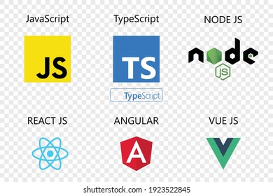vector collection of web development shield signs : javascript, typescript, react js, angular,vue js and node js.