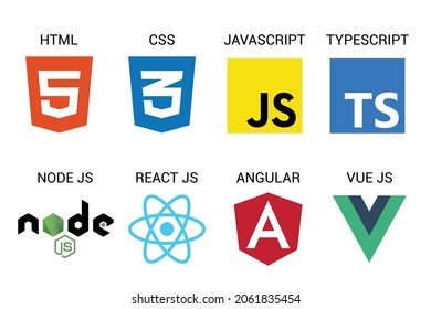 vector collection of web development shield signs: html5, css3, javascript, react js, angular,vue js and node js.