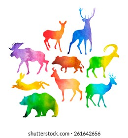 Vector collection of wild game silhouettes filled with watercolor. Cool design elements.