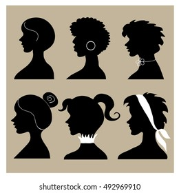 Vector collection with woman face silhouettes
