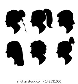 Vector collection of woman head and hairstyle silhouettes