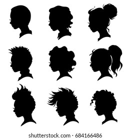 Vector collection of woman head and hairstyle silhouettes.