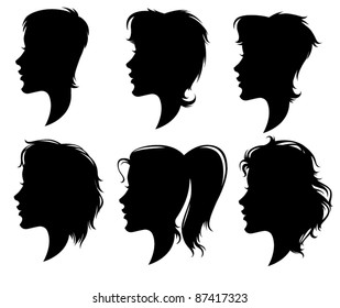vector collection of women' head silhouettes with highly detailed hair