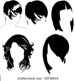 vector collection of women's different haircuts