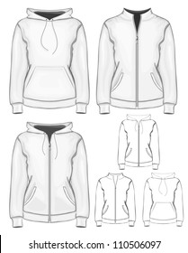 Vector collection of women's different sweatshirts