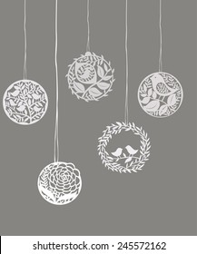 Vector Collection of Wreaths for Valentine's Day paper cut.