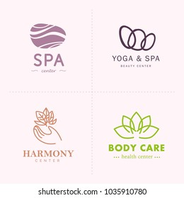 Vector collection of yoga, beauty and  spa symbols in light colors isolated on white background. Perfect for massage saloon, wellness and health care centers, fashion insignia design.