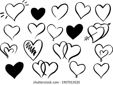 Vector collections Heart shape frame with brush. Heart hand drawn vector isolated Symbol of love. Valentine