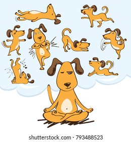 Vector colletion of yoga dogs