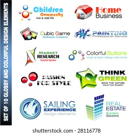 VECTOR Coloful and Glossy Set of Various Design Elements