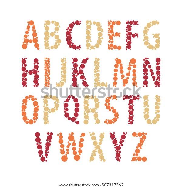 Vector Color Abstract Alphabet English Alphabet Stock Vector