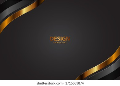 Vector color abstract geometric banner with gold shapes.