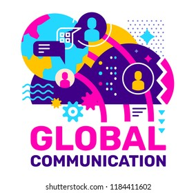 Vector color abstract illustration with cloud, planet, chatting people icon and speech bubble. Global communication creative concept with text on white background. Flat style design for web, banner