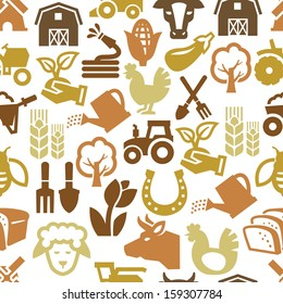 vector color agriculture and farming icons set