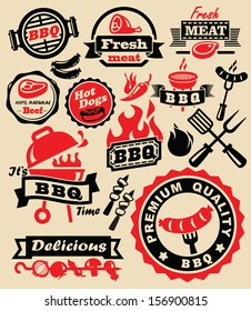 vector color barbecue grill party icons set