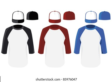 Vector color baseball cap and shirt illustration on white background