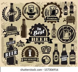 vector color beer pub labels icons set