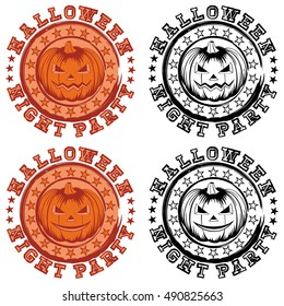 Vector color and black and white illustration grunge stamp with lettering halloween and night party and jack-o-lantern pumpkins set.