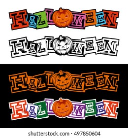 Vector color and black and white illustration grunge lettering halloween and jack-o-lantern pumpkin set.