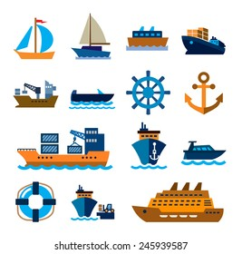 vector color boat and ship icons on white background