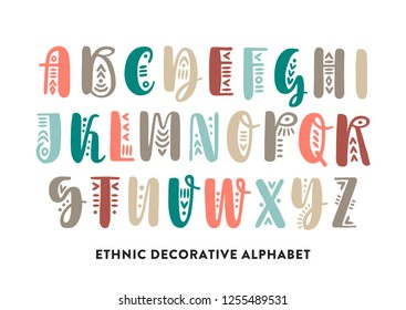 Vector color brush pen handwritten uppercase alphabet decorated with ethnic ornaments.