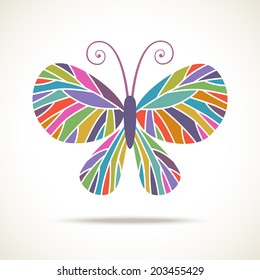 Vector color butterfly icon. Original decorative illustration for print, web
