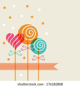 Vector color candy in heart swirl shape and banner. Decorative background for print, web