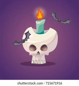 Vector color cartoon comic style illustration of Halloween skull with flaming candle and flying bats