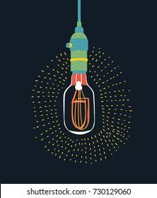 Vector color cartoon illustration Edison light bulb on dark upside down, vector design element