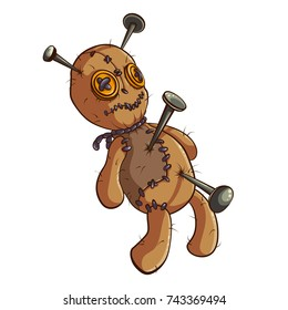 Vector color cartoon illustration of a voodoo doll for Halloween on a white background. Trick or treat.  Magic element, sticker, isolated object