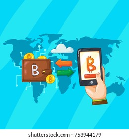 Vector color cartoon style illustration of worldwide using online bitcoin cryptocurrency wallet for trading on stock. Buying and selling bitcoin with smartphone