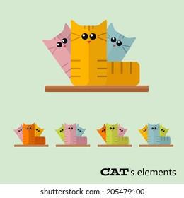 Vector color cats flat elements. Eps 10