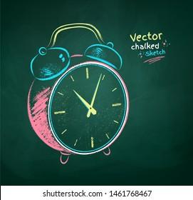 Vector color chalk drawn  illustration of alarm clock on green chalkboard background.
