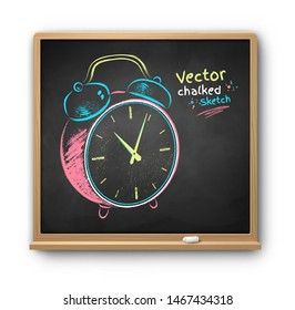 Vector color chalk drawn illustration of alarm clock on chalkboard background isolated on white with shadow.