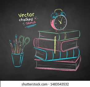 Vector color chalk drawn  illustration of alarm clock on books and desk organizer on black chalkboard background.