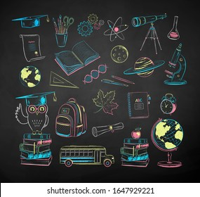 Vector color chalk drawn illustration collection of education and science items on chalkboard background.