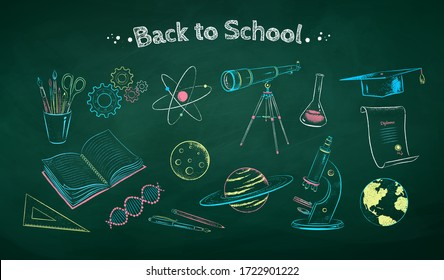 Vector color chalk drawn illustration set of science objects on green chalkboard background.