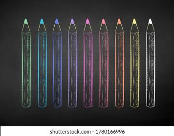 Vector color chalk drawn illustration of colored pencils on black chalkboard background.